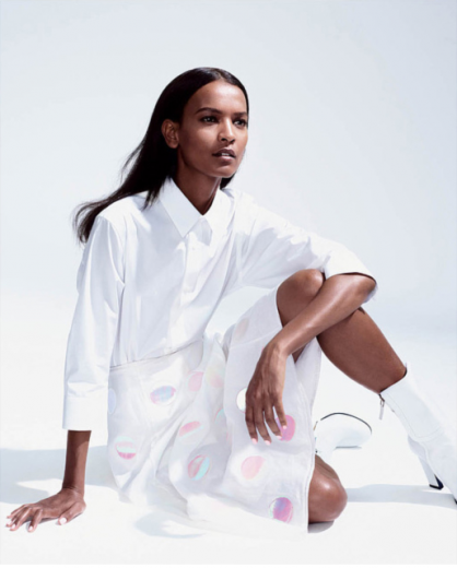 Liya Kebede looks great in white (and pink!)