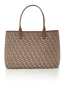 DKNY Neutral Jacquard Tote Bag