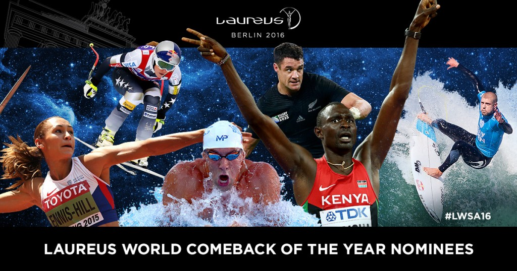 In this photo illustration the 2016 Laureus World Comeback of the Year Nominees (L-R): Jessica Ennis-Hill (UK) Athletics; Lindsey Vonn (US) Skiing; Michael Phelps (US) Swimming; Dan Carter (New Zealand) Rugby; David Rudisha (Kenya) Athletics; Mick Fanning (Australia) Surfing. The Laureus World Sports Awards take place on April 18, 2016 in Berlin, Germany. (Photo by Laureus)