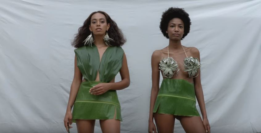 Solange and friend in leaf outfits
