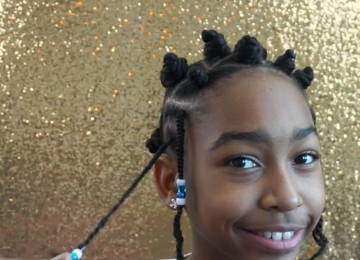 Mazuri Kids Natural Hairstyle - Braids & Bantu knots