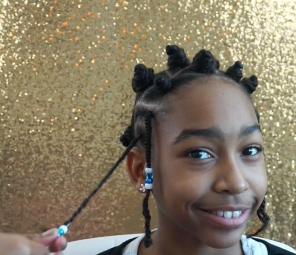 Mazuri Kids Natural Hairstyle - Braids & Bantu knots