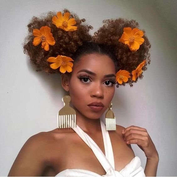 3 5 Black Flower Hair Clip With Flower Center: Hair Trend: Floral Afro's