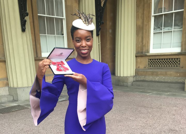 Ade Hassan receives her MBE for her services to fashion