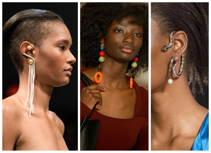 Statement earrings at Fashion Week